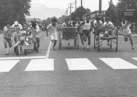 Bed Races Downtown Squamish, 1981. Photo: Squamish Archives